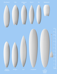 Set of white clean surfboards