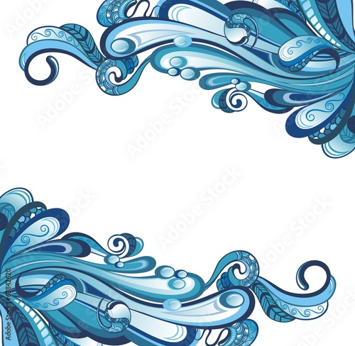 Decorative water background with drops