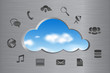 Cloud Computing abstract concept icons and cloud shape