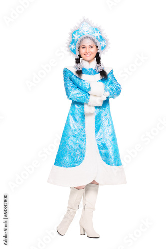 Young brunette wearing like snow maiden