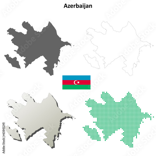 Blank detailed contour maps of Azerbaijan