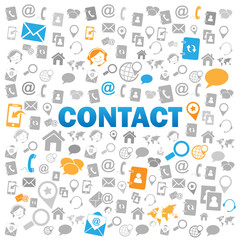 """CONTACT"" Icons Poster (call us details customer service help)"