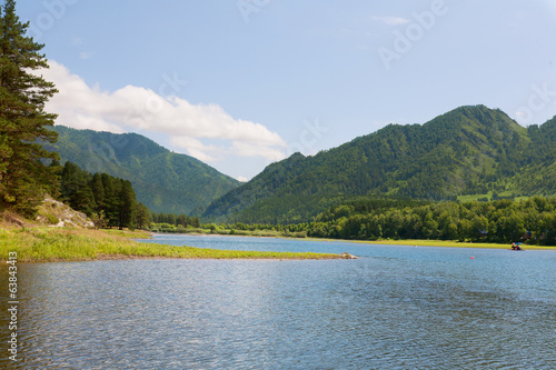 Landscape with mountains lake. Altai, Suberia