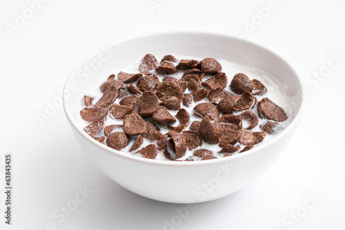 Breakfast Chocolate Cornflakes Cereal Bowl Close Up