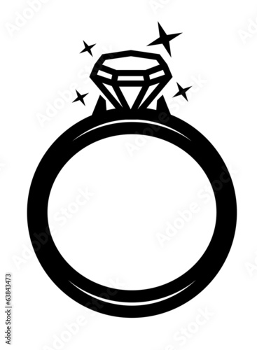 vector black ring with diamond