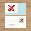 Business card template with alphabet letter X.