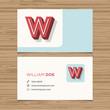 Business card template with alphabet letter W.