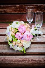 wedding flowers and glass