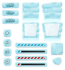 Cartoon Ice And Glass Icons For Ui Game