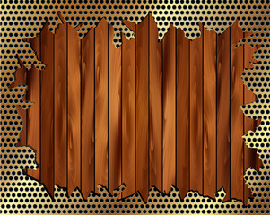 Torn metal grille on a wooden background
