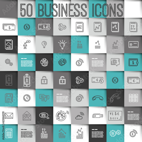 modern turquoise  business icons