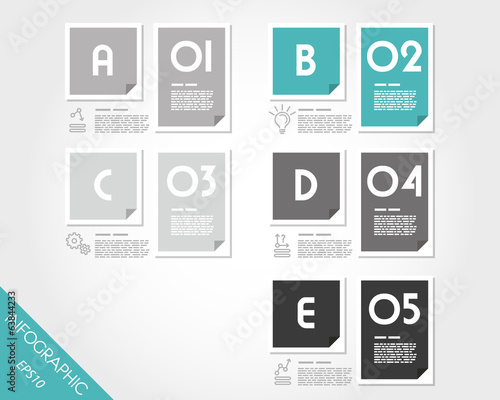 set of turquoise flat infographic rectangle stickers