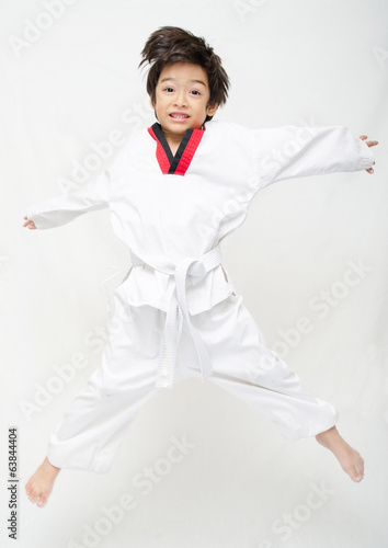 Little tae kwon do boy martial art jumping