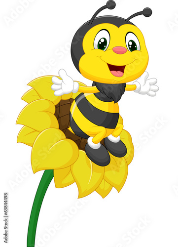 Bee character on the flower