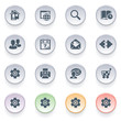 Internet icons on color buttons.
