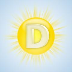 Sonnen-Symbol für Vitamin D vor blauem Himmel