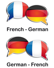 French - German translator clouds