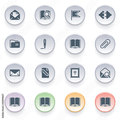 Email icons on color buttons.