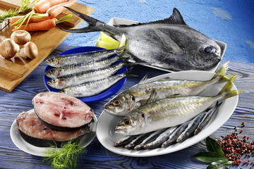 assorted fresh bluefish