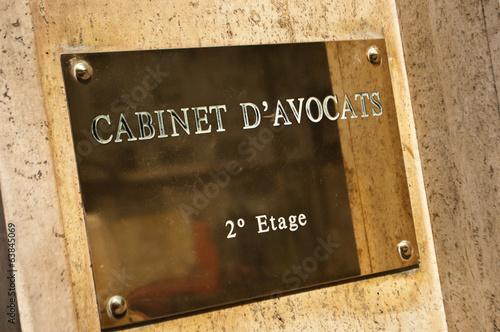plaque cabinet d'avocats - 63845069