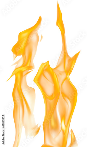 illustration with orange fire on white