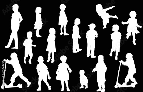 sixteen isolated child white silhouettes