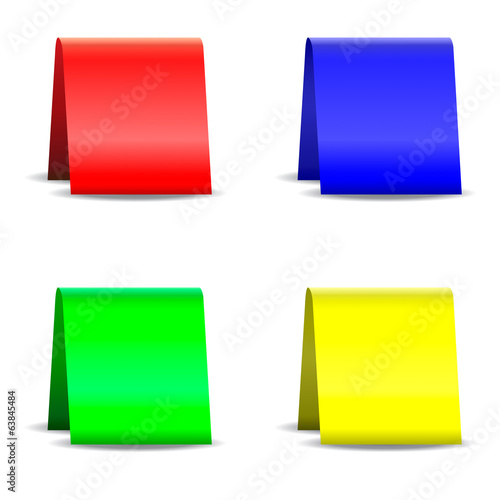 Empty folded paper card signs with shadow, isolated on white