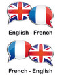 English - French translator clouds