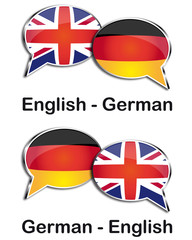 English - German translator clouds