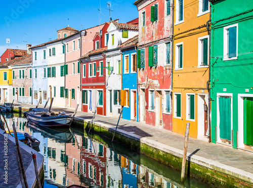 Line of Brightly Colored Burano Homes
