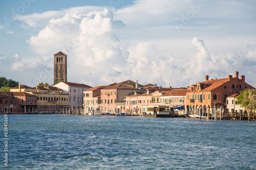 Water Bus Station and Church Tower in Venice