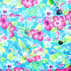 Background of right pocket on blue shirt flower pattern