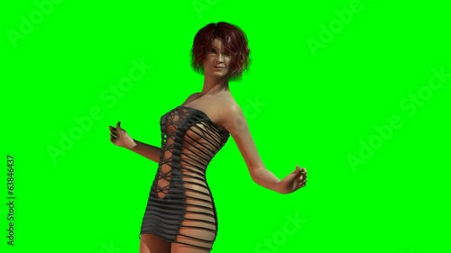 Hot Girl in sexy Mini Dress dances - green screen