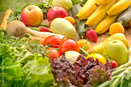 Organic fruits and vegetables on a table
