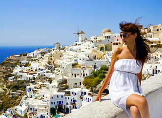 Young woman on holidays, Santorini