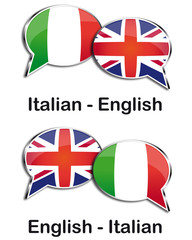 Italian - English translator clouds