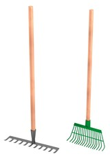 realistic 3d render of rakes