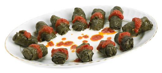 Turkish food stuffed grape leaves called Dolma
