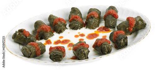 Turkish food stuffed grape leaves called Dolma