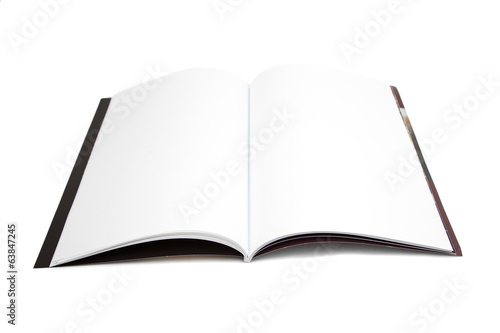 Blank white page magazine isolated on white background