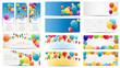 Color Glossy Balloons Card Mega Set Vector Illustration - 63847466