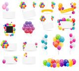 Fototapety Color Glossy Balloons Card Mega Set Vector Illustration