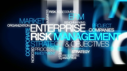 Enterprise risk management ERM word tag cloud animation