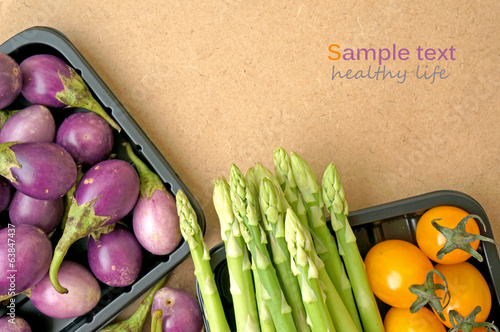 vegetables on wooden background. Healthy food concept