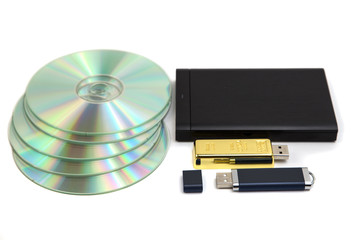 Data storage device collection: cd and usb memory