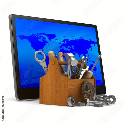 Tablet service on white background. Isolated 3D image