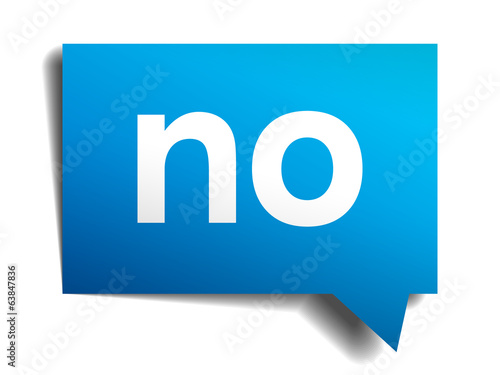 No blue 3d realistic paper speech bubble isolated on white