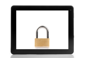 lock inside digital tablet pc on white background