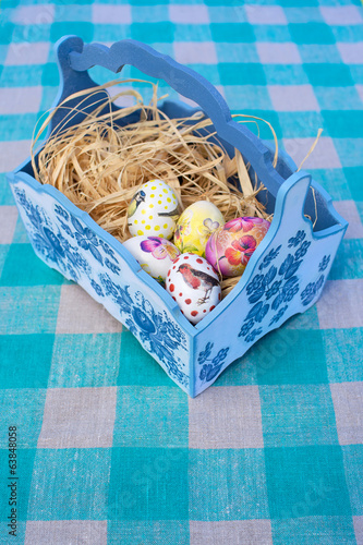 easter eggs in blue basket