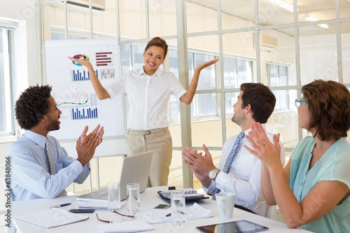 Businesswoman giving presentation to colleagues in office